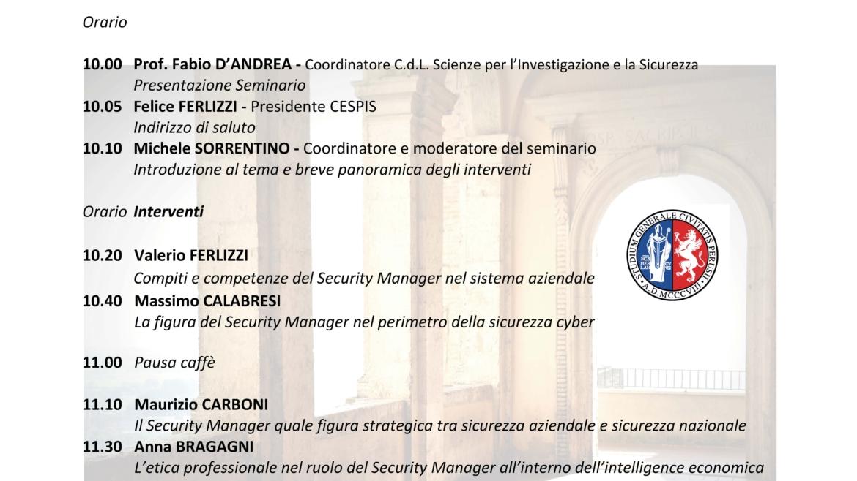 """05 Febbraio 2021 – Seminario sul tema: """"La figura del security manager nel sistema aziendale"""""""
